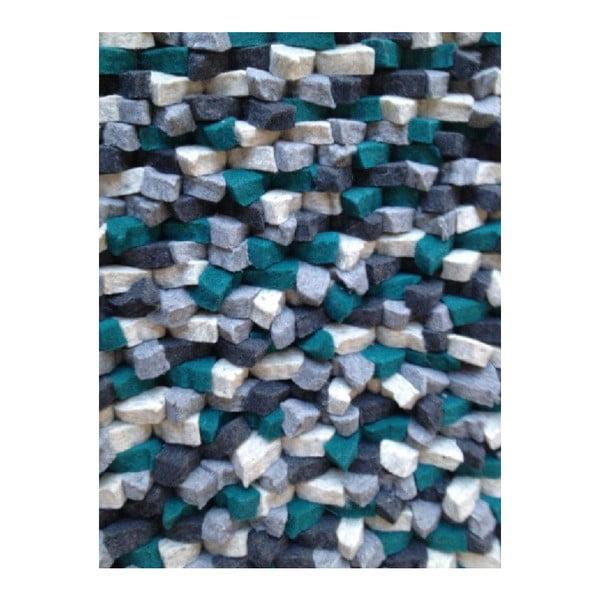 Dywan wełniany Crush Petrol, 170x240 cm