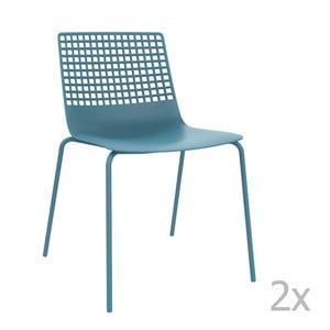 Zestaw 2 niebieskich krzeseł ogrodowych Resol Wire