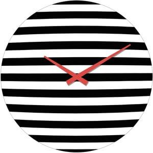 Szklany zegar Prążki, 34 cm