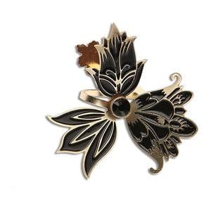 Pierścionek Kwiaty, czarny