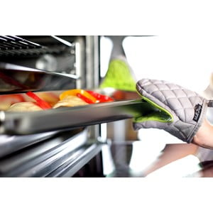 Bawełniana rękawica kuchenna z silikonem, zielona/szara