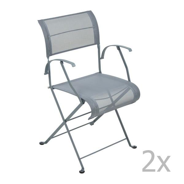 Zestaw 2 ciemnoszarych krzeseł składanych z podłokietnikami Fermob Dune