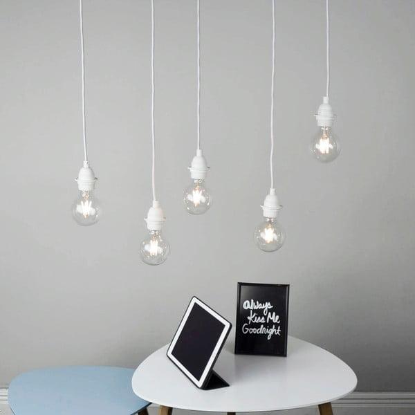 Biała pięcioramienna lampa wisząca Bulb Attack Uno Primary