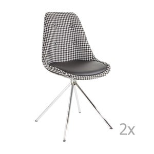 Zestaw 2 czarno-białych krzeseł 13Casa Lars