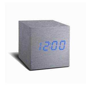Szary budzik z niebieskim wyświetlaczem LED Gingko Cube Click Clock