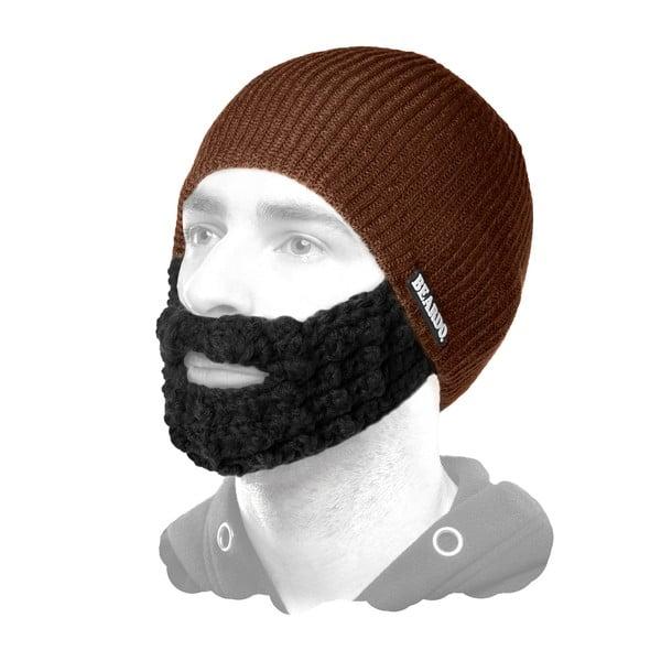 Brązowa czapka Beardo z czarną brodą