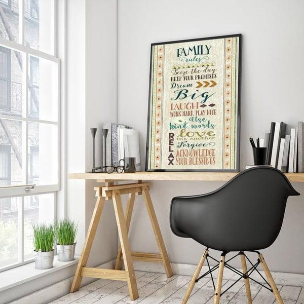 Plakat w drewnianej ramie Family rules, 38x28 cm