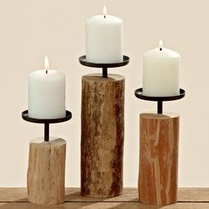Zestaw 3 świeczników z drewna eukaliptusowego Boltze Tempe