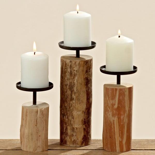 Zestaw 3 świeczników z drewna eukaliptusa Boltze Tempe