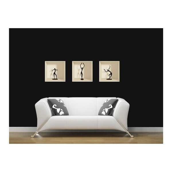 Zestaw 3 naklejek na ścianę 3D Ambiance Dancing Figures
