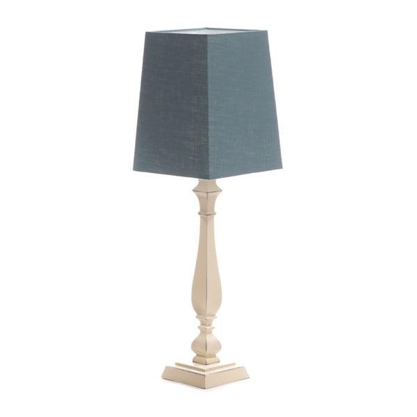 Niebieska lampa stołowa Tower, brzoza, 20 x 20 cm
