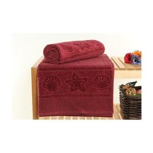 Zestaw 2 ciemnoczerwonych ręczników Akdeniz, 70x140 cm