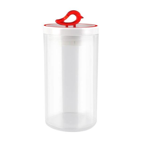Przezroczysty pojemnik z czerwonym detalem Vialli Design Livio, 1,2 l
