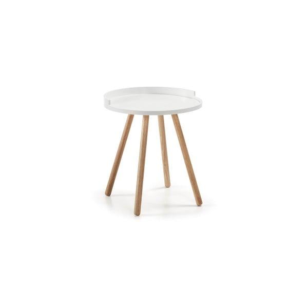 Biały stolik z drewnianymi nogami La Forma Bruk