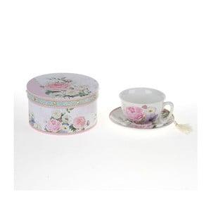Porcelanowa filiżanka z podstawką w pudełku podarunkowym Roses