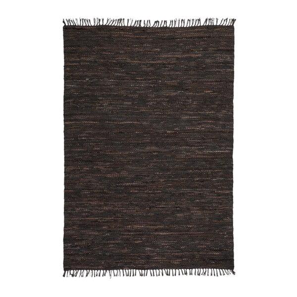 Ciemnobrązowy skórzany dywan Kayoom Rajpur, 70x130 cm