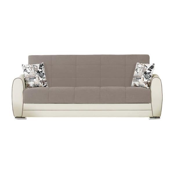 Beżowo-szara trzyosobowa sofa rozkładana o kremowej konstrukcji ze schowkiem Esidra Rest