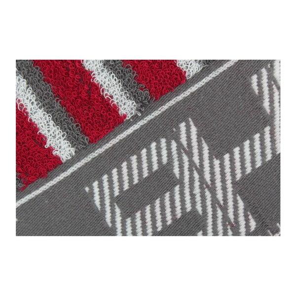 Ręcznik bawełniany BHPC 50x100 cm, szaro-czerwony