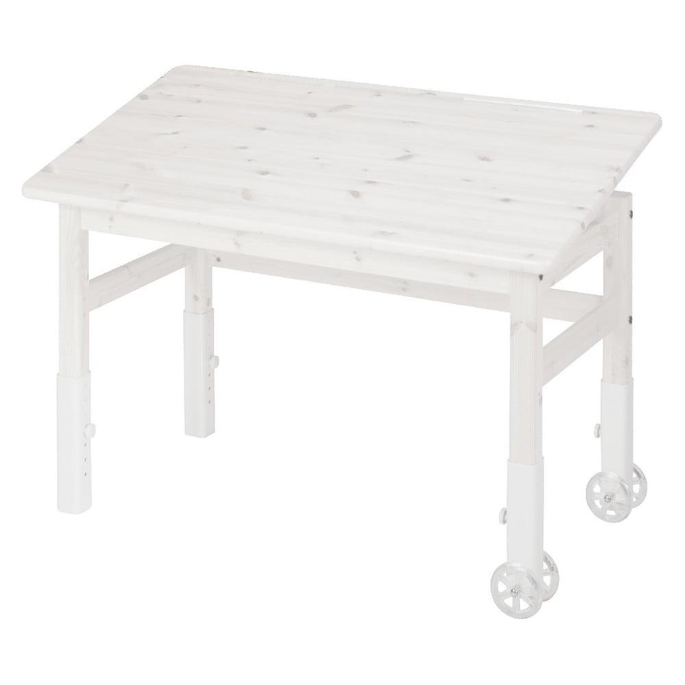 Białe biurko z drewna sosnowewgo z regulacją blatu Flexa Elegant
