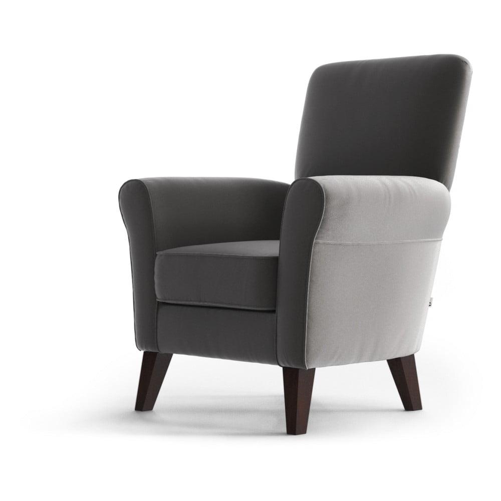 Jasnoszary aksamitny fotel My Pop Design Balard
