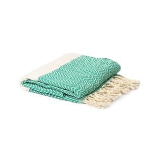 Zielono-biały ręcznik hammam Spa Time Zig, 95x180cm