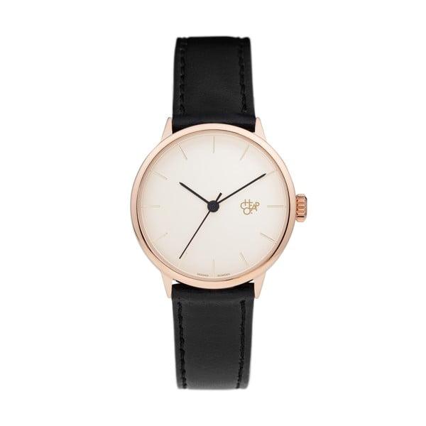Zegarek z czarnym paskiem i różowo-złotą tarczą CHPO Khorshid Mini Vegan