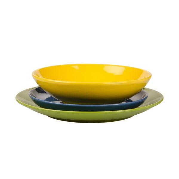 18-częściowy komplet talerzy Kaleidos, zielono-niebiesko-żółty
