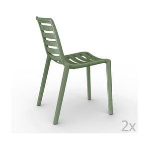 Zestaw 2 zielonych krzeseł ogrodowych Resol Slatkat