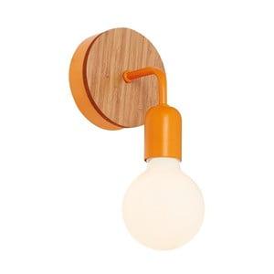 Pomarańczowy kinkiet z drewnianymi elementami Valetta
