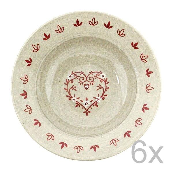 Zestaw 6 talerzy ceramicznych Heart 21,5 cm