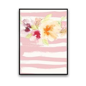 Plakat z kwiatami, różowo-białe tło, 30 x 40 cm