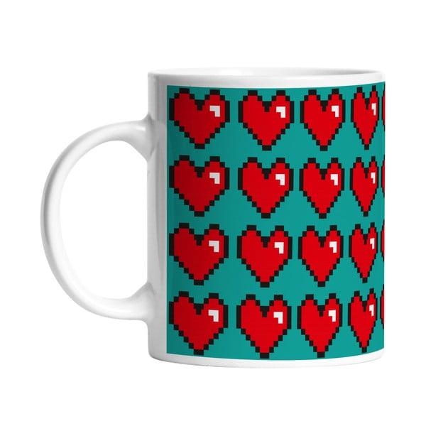 Ceramiczny kubek Digital Hearts, 330 ml