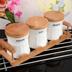Bambusowy stojak z 3 pojemnikami Spices
