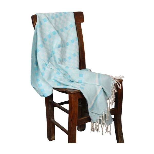 Turkusowy ręcznik hammam Hera Turquoise, 90x190cm