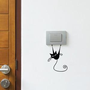 Czarna naklejka na wyłącznik światła Ambiance Acrobat Cat