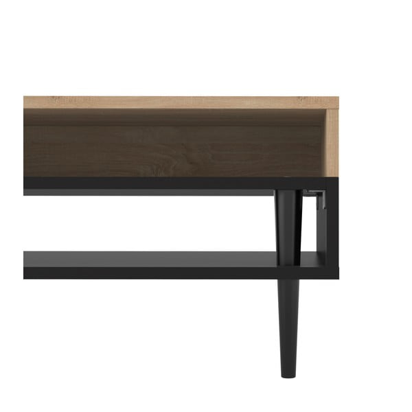Czarny stolik z dekorem drewna dębowego TemaHome Horizon