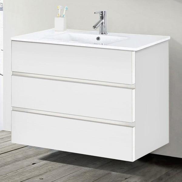Szafka do łazienki z umywalką i lustrem Nayade, odcień bieli, 100 cm