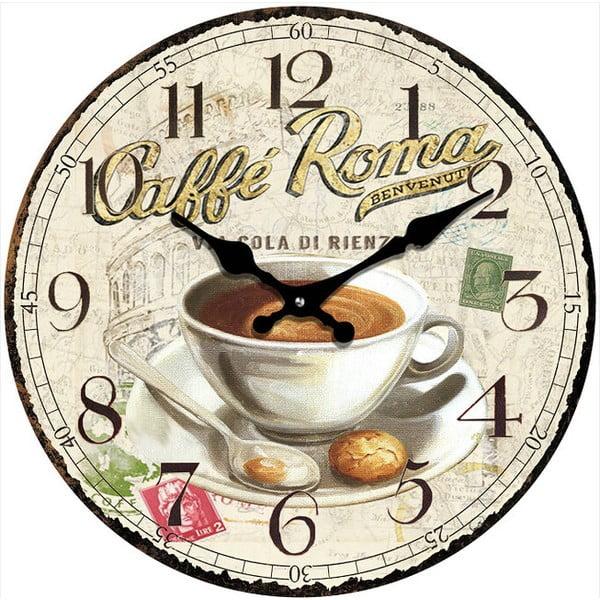 Szklany zegar Caffé Roma, 34 cm