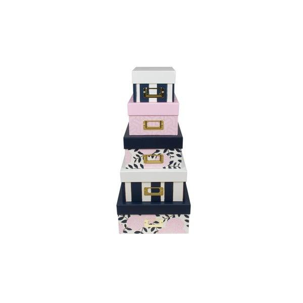 Zestaw 5 pudełek Tri-Coastal Design Navy Blush