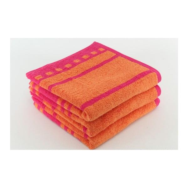 Zestaw 3 ręczników Capri Raspberry, 50x100 cm
