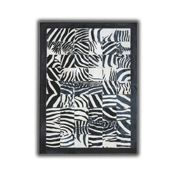 Dywan skórzany Zebra Border, 140x200 cm