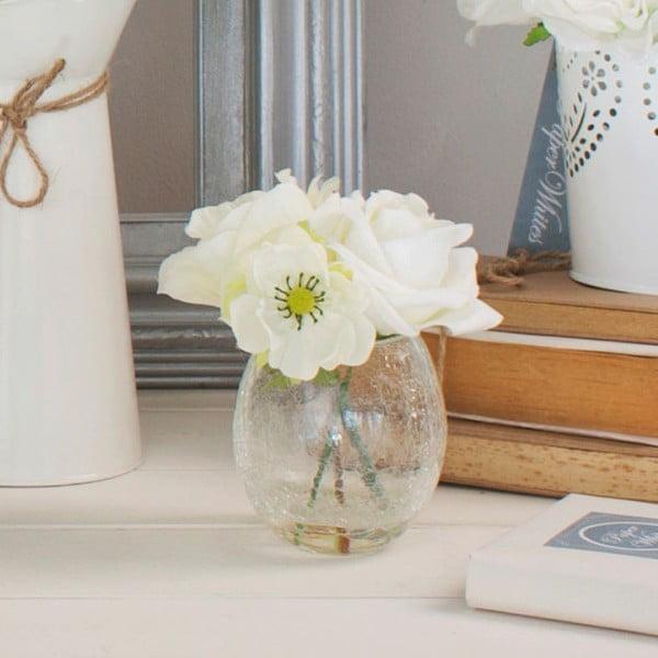 Szklany wazon ze sztucznymi kwiatami Rose, 17 cm