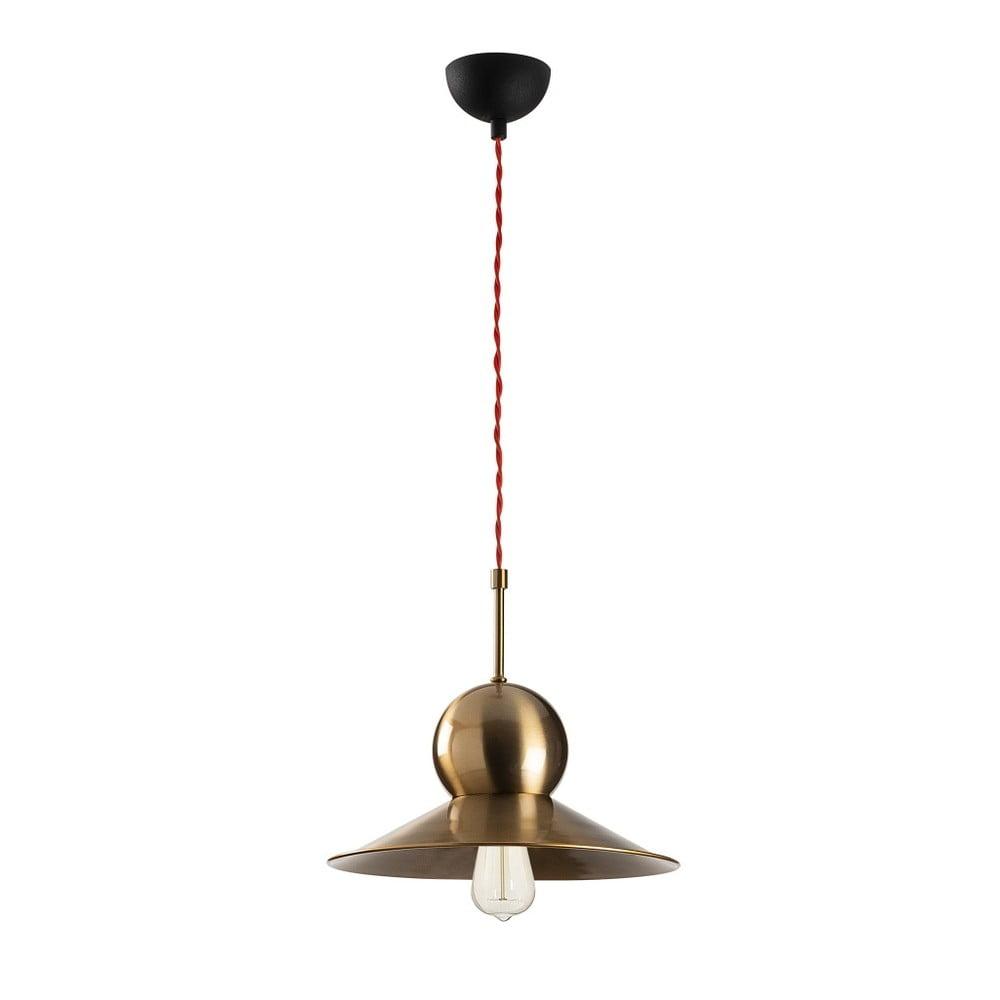 Czarna metalowa lampa wisząca w antycznym złotym kolorze Opviq lights Stathis