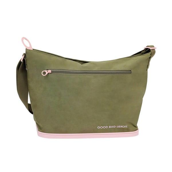 Torba na ramię Lexon Good z gumową podkładką, zielono-różowa