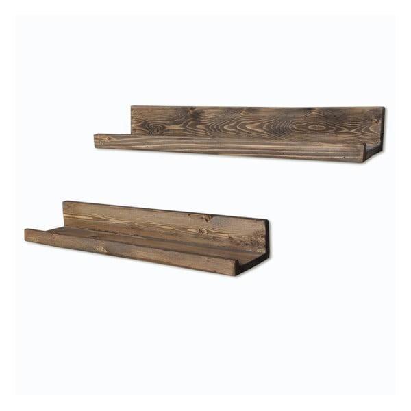 Zestaw 2 półek drewnianych Simple