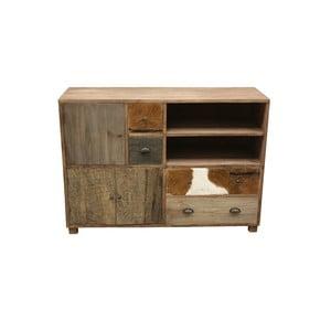 Szeroka komoda drewniana ze szczegółami z koziej skóry HSM Collection Texas