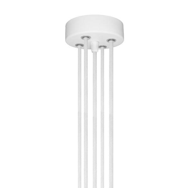 Biała pięcioramienna lampa wisząca ze srebrną oprawką Bulb Attack Uno Unit