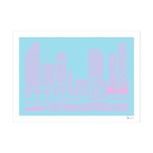 Plakat Miami Blue&Pink, 50x70 cm