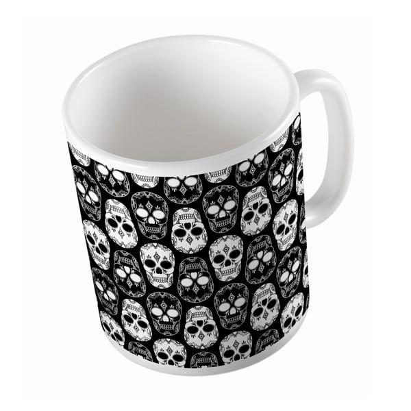 Kubek ceramiczny Black and White Skulls, 330 ml