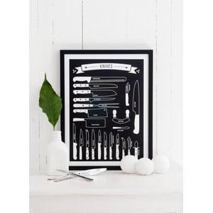 Czarny plakat Follygraph Knives black, 30x40cm